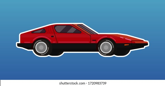 Red passenger isometric sport car vector illustration in flat futuristic style with white stroke on blue gradient background. Vehicle concept for banners and icons.