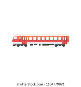 Red passenger train locomotive, railway carriage vector Illustration on a white background