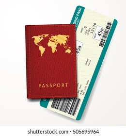 red passport cover with boarding pass, vector illustration, Paris New York ticket