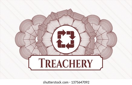 Red passport money style rosette with recycle icon and Treachery text inside