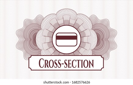 Red passport money style rosette with credit card icon and Cross-section text inside