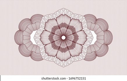 Red passport money style rosette. Vector Illustration. Detailed.