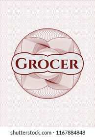 Red passport money style rossete with text Grocer inside