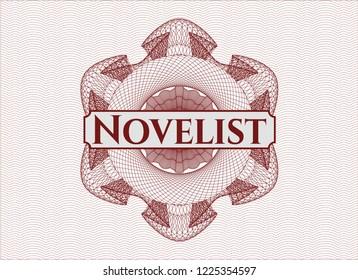 Red passport rossete with text Novelist inside