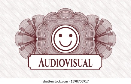 Red passport style rosette with happy face icon and Audiovisual text inside
