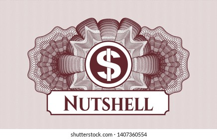 Red passport style rosette with money icon and Nutshell text inside