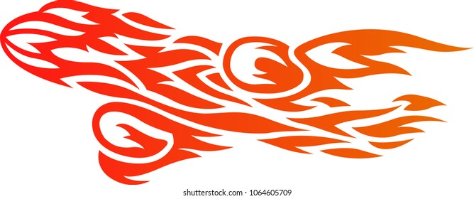 red pattern with airplane in fire flames on white background