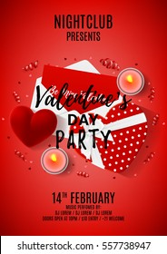 Red paty flyer for Valentine's Day. Top view on composition with gift boxes and case for ring. Beautiful banner with confetti and serpentine. Vector illustration.