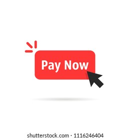 red pay now button isolated on white. cartoon flat style trend modern simple logotype graphic art design element. concept of easy order goods through the online store like retail or consumerism