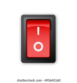 Red pc electric switch, off position, 3d realistic vector object, illustration of electrical equipment on white background, eps 10