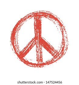 Red peace symbol created in grunge style.