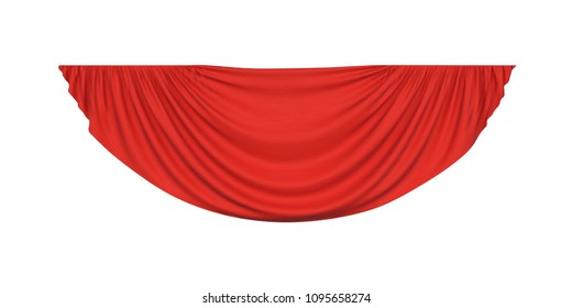Red pelmet drapery curtain for interior, performance event on theatrical stage or in concert hall, isolated on white background. Vector illustration