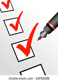 A red pen is checking off boxes which can represent a number of ideas and concepts.