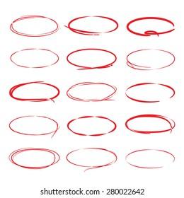 red pen drawn marks, red circle set
