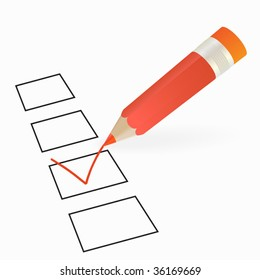 red pencil and checkbox selected vector image