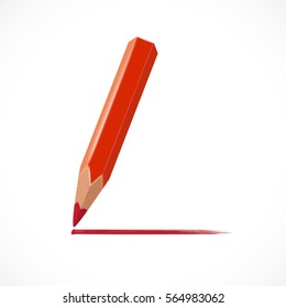 Red pencil with red pencil drawn line isolated on white background. Vector illustration for your graphic design.