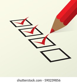 Red pencil fills out a form to vote. A check mark in a black box.