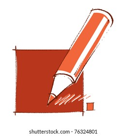 Red pencil icon, simple linear drawing (vector)