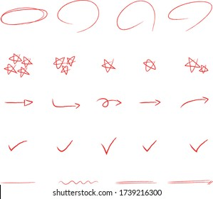 Red pencil illustration vector image, circle, check, underlines, star shape, doodle image