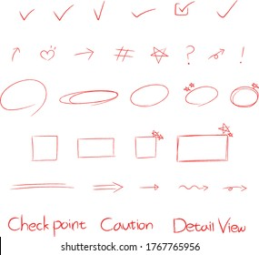 Red pencil illustration vector image, check mark, underlines, Detail view, caution, Diary decorating