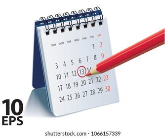 Red pencil on calendar page for remind and marked important events. Realistic vector 3d illustration