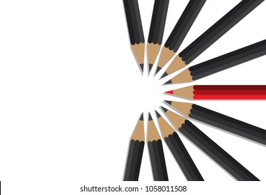 red pencil standing center of black crowd, leadership, initiative, think different, teamwork, business concept
