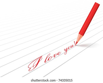 Red pencil and words about love
