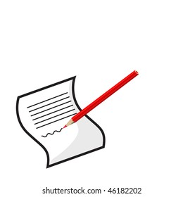The red pencil writes on a white paper