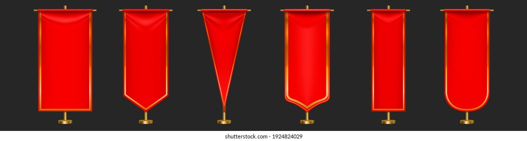 Red pennant flags different shapes on gold pillar. Vector realistic template of blank textile pennons on golden pole for sport teams, varsity or heraldic symbols isolated on gray background