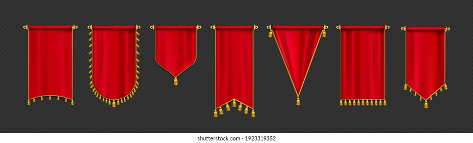 Red pennant flags mockup, blank hanging banners with golden tassels, rounded, concave, pointed and double edges. Medieval heraldic ensign templates, canvas. Realistic 3d vector icons isolated set