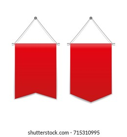 Red pennant hanging set isolated on a white background