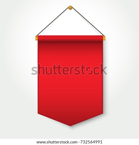 red pennant template hanging on wall stock vector royalty free