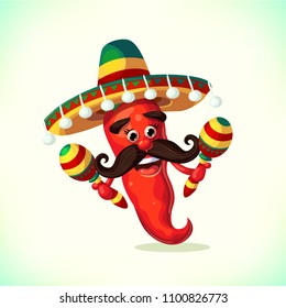 380cea3a97b3e Red pepper wearing sombrero and with maracas. Cartoon Mexican Mascot Chili  Pepper in with Mustache