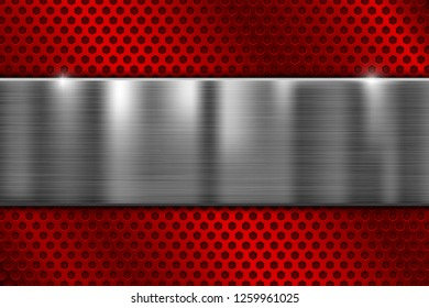 Red perforated metal texture with brushed steel plate. Vector 3d illustration