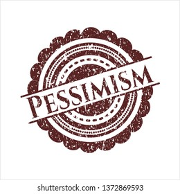 Red Pessimism distress rubber seal with grunge texture