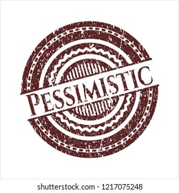 Red Pessimistic distressed grunge stamp