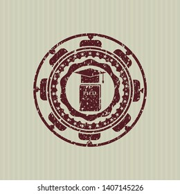 Red Phd thesis icon inside distressed rubber grunge texture stamp