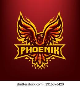 Red Phoenix Mascot Logo isolated on Dark Red Bacground