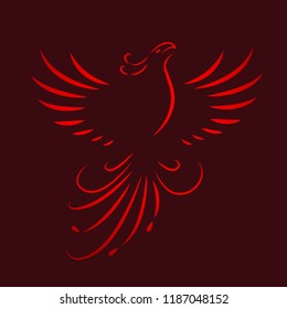 red phoenix rising wings line drawing vector illustration EPS10
