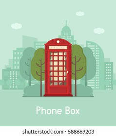 Red phone booth vector illustration. Classic phonebox on modern city background. Vintage public telephone cabin on downtown landscape. Telephone communications concept.
