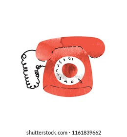 red phone watercolor illustration. retro vintage phone vector file.