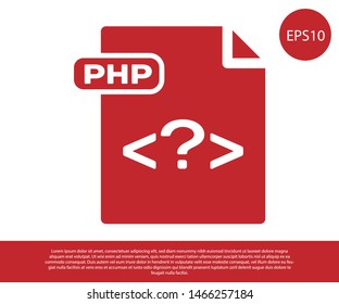 Red PHP file document. Download php button icon isolated on white background. PHP file symbol.  Vector Illustration