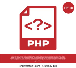 Red PHP file document icon. Download php button icon isolated on white background. PHP file symbol. Vector Illustration