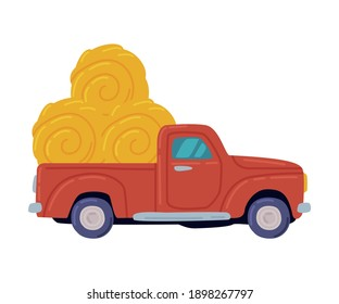 Red Pickup Loaded with Hay Bales, Agricultural Machinery Cartoon Style Vector Illustration