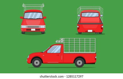 red pickup truck with car steel grating front side back view transport vector illustration eps10