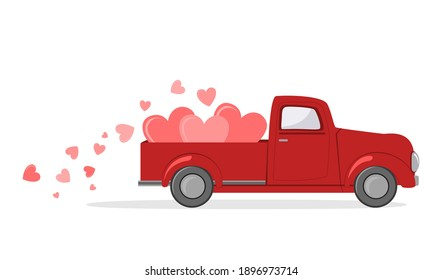 Red pickup truck with hearts. Card for a Saint Valentine Day. Vector illustration.
