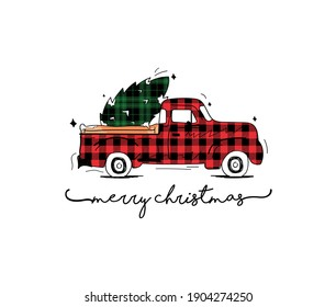 Red pickup. Vintage pickup with christmas tree in the trunk. Hand Drawing christmas car.