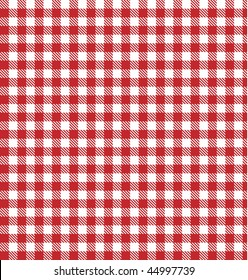 Red picnic table cloth, plaid, gingham, blanket vector background. Tablecloth check pattern.