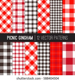 Red Picnic Tablecloth Gingham and Tartan Patterns. Vector Pattern Tile Swatches Included.