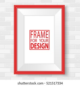 Red picture frames. Realistic white brick wall vector illustration. Photo frames mock up. Empty vector bright red frame for your illustrations, drawings, posters or photos.